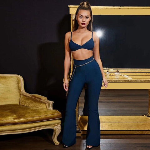 Image of Street Savvy - Exquisite Spaghetti Strap 2 Piece Evening Set With Chain