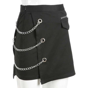 Chains Belted Black Street Mini Skirt