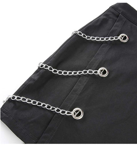 Image of Chains Belted Black Street Mini Skirt