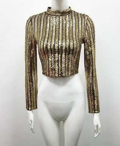 Image of Glittering Sequined Bandage Top