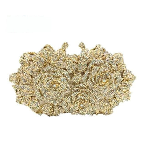 Catania - Dazzling Golden Rose Flower Hollow Out Crystal Metal Clutch Bag