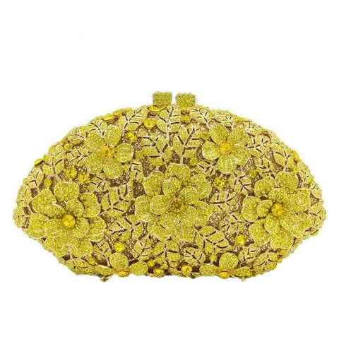 Supernova - Dazzling Champagne Flower Crystal Clutch Evening Bag
