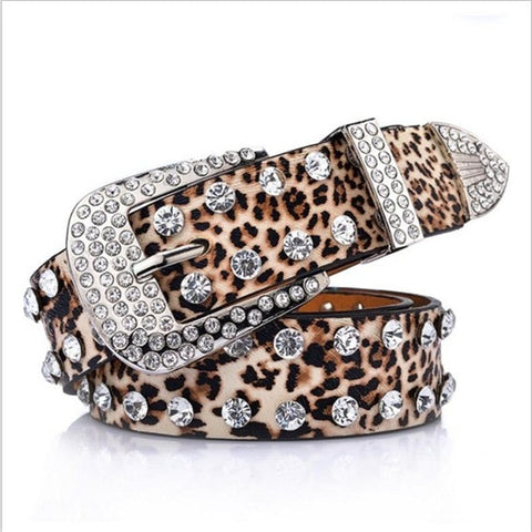 Image of Rhinestones leopard print PU leather belt