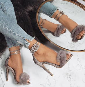 Napa - Elegant Fake Fur Silver Buckled Heels