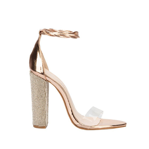 Milanese - Sparkling Rhinestone Ankle Strap Square Heels