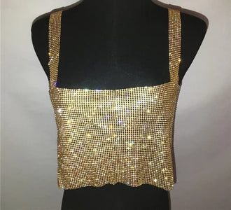 Venado - Ultra Glitzy Sequined Sparkling Backless Crop Top