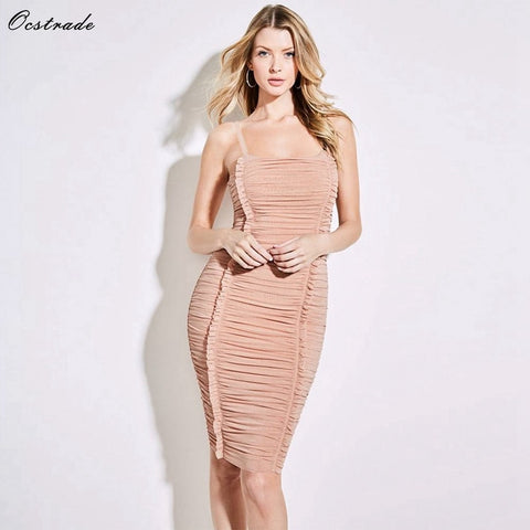 Paparazzi Range - Stunning Strappy Sleeveless Mini Fold Sexy Bodycon