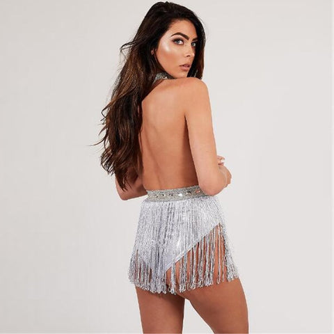 Glitzy Halter Backless Sequined Hollow Out Tassel Suit