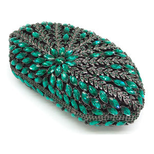Glittering Coral - Exquisite Hollow Out Floral Emerald Diamond Crystal Clutch Bag