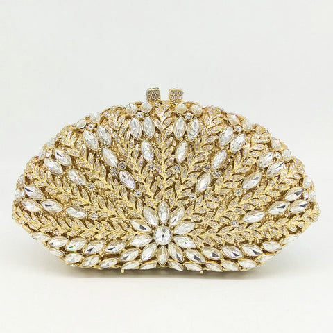 Image of Glittering Coral - Exquisite Hollow Out Floral Emerald Diamond Crystal Clutch Bag