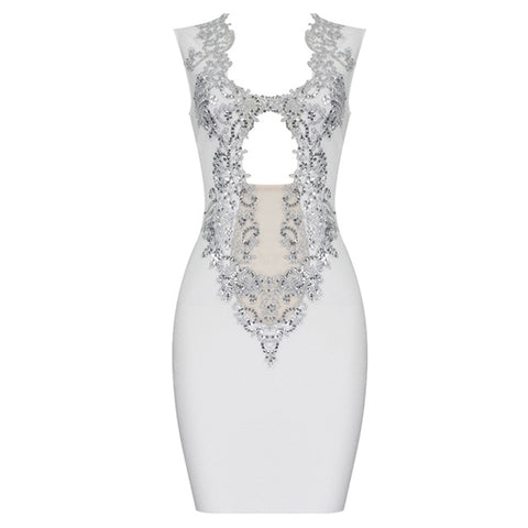 Riviera Range - Stunning V Neck Mesh Sparkling Pattern Mini Bodycon Dress