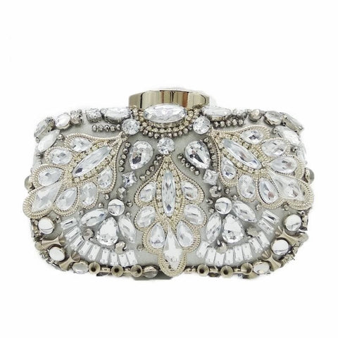 Image of Diamond Ice - Vintage Silver Crystal Beaded Evening Bag