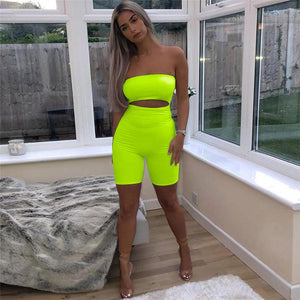 Sexy Hollow Out Neon Romper
