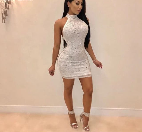 Dance Hall Queen - Sexy Sparkling Rhinestone Open Back Mini Bodycon Dress