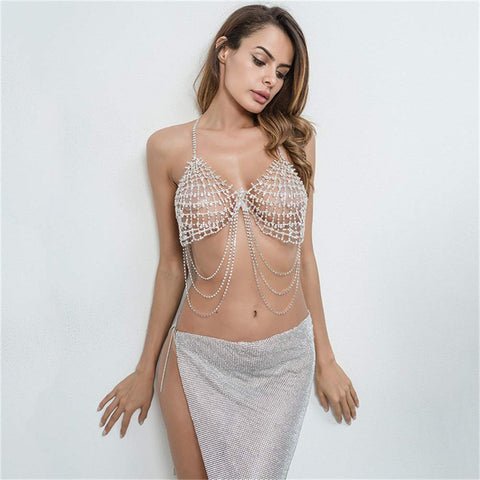 Zunita - Dazzling Diamond Rhinestone Hollow Chain Party Top