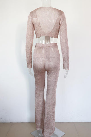 Midusa - Ultra Glam Elasticated Waist Metallic Rose Gold Sparkling Two Piece Set