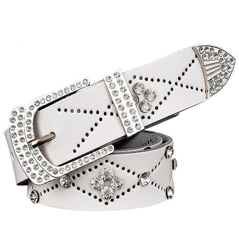 Image of Stunning Genuine Leather Studded Rhinestone Belt