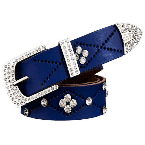 Stunning Genuine Leather Studded Rhinestone Belt