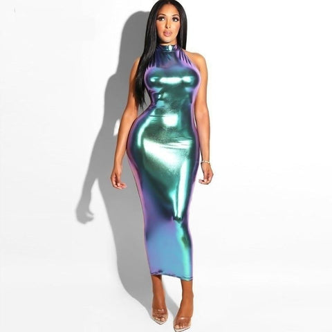 Drinks Are On Me - Shiny Multicolor Club Maxi Dress