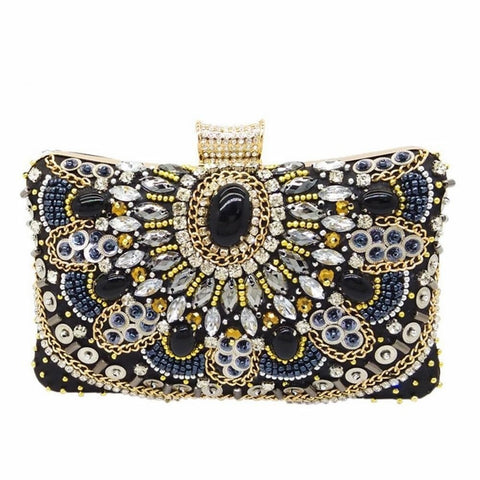 Calabria - Exquisite Sparkling Crystal Beaded Evening Clutch Bag