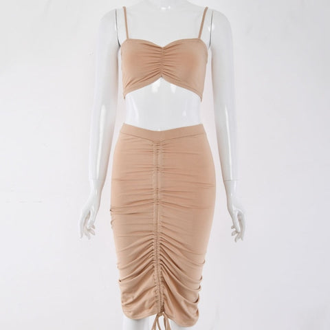 La Viva - Stunning Pleat Ruched 2 Piece Bodycon Set