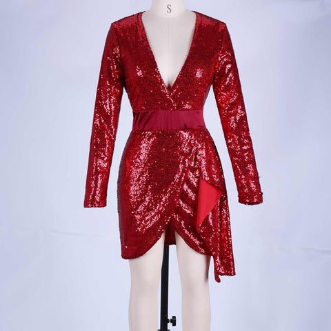 Paparazzi Range - Exquisite Red V Neck Long Sleeve Mini Sequined Party Dress