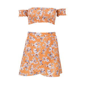 Shoulder Floral Print Chiffon Two Piece