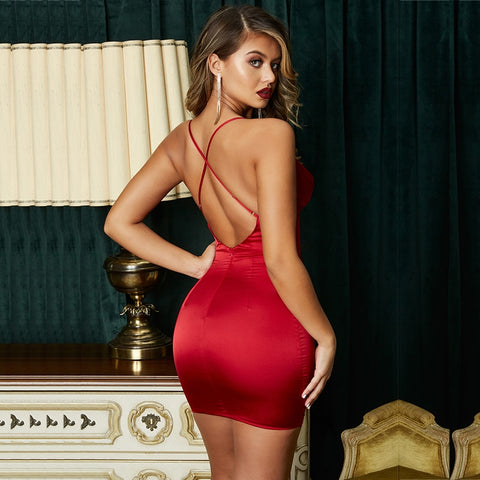 Red Rose - Stunning Red Satin Party Dress