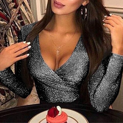 Image of Glittering Deep V Neck Bodycon Jumpsuit