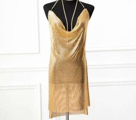 Rio Grande - Ultra Glam Deep V Neck Sparkling Sequined Dress