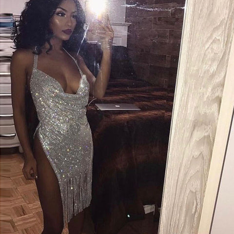 Sexy Metal Crystal Diamonds Chain Dress