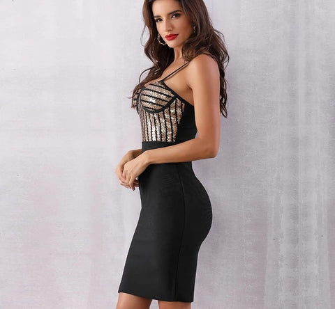 Image of Centenario - Sexy Bodycon Sequin Spaghetti Strap Dress