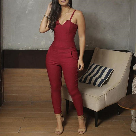 Image of Slim Fit Spaghetti Strap Jumpsuit