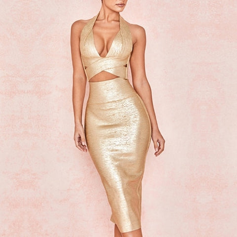 El Segundo - Exquisite Gold V Neck Bodycon Bandage 2 PieceSet