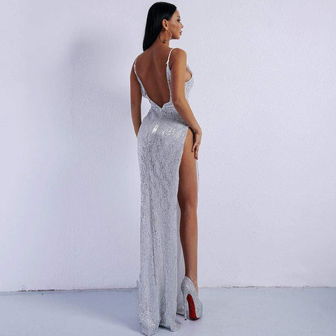 Kozani - Sexy Deep V Off Shoulder Sequin High Split Dress