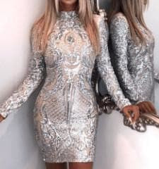Image of Diamond Lights - Sexy High Neck Long Sleeve Sequined Reflective Dress