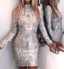 Diamond Lights - Sexy High Neck Long Sleeve Sequined Reflective Dress