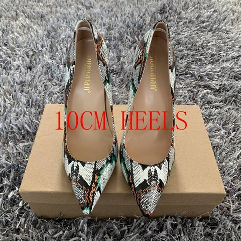 The Eyes Have It - Stunning Snakeskin Patterned Multicolor Heels