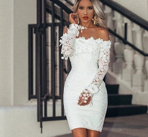 White Satin - Stunning Hollow Out Strapless Lace Mini Dress