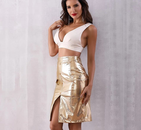 Image of Gold Finger - Stunning High Waist Gold Knee Length Skirt