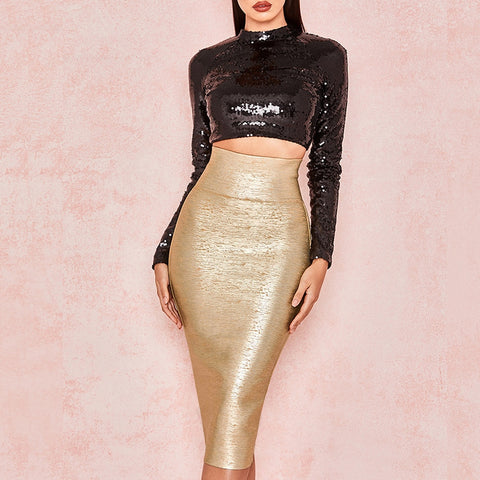 Dazzling Bandage Runway Style Gold Pencil Maxi Skirt