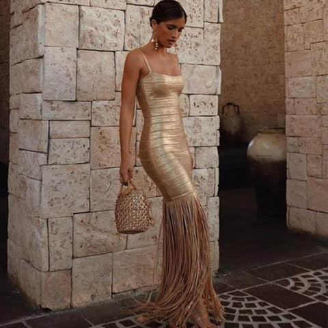 Patrea - Dazzling Spaghetti Strap Gold Evening Dress