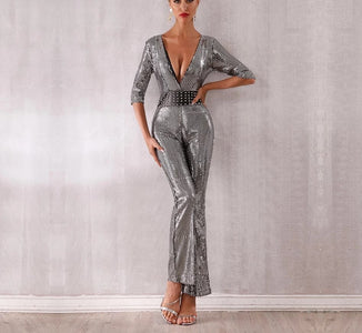Glam Life - Sparkling Silver Sequin Jumpsuit