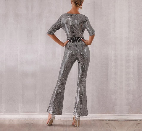 Image of Glam Life - Sparkling Silver Sequin Jumpsuit