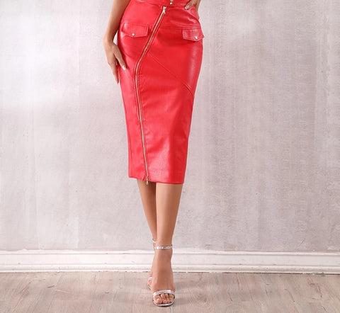 Image of Runway Style Sexy Red Midi Zip Leather Skirt