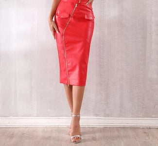 Runway Style Sexy Red Midi Zip Leather Skirt