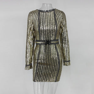 VIP Treatment - Dazzling Long Sleeved Mini Sequined Dress