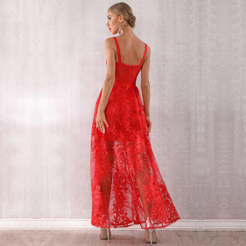Image of Red Velvet - Exquisite Red Lace Sleeveless Maxi Dress