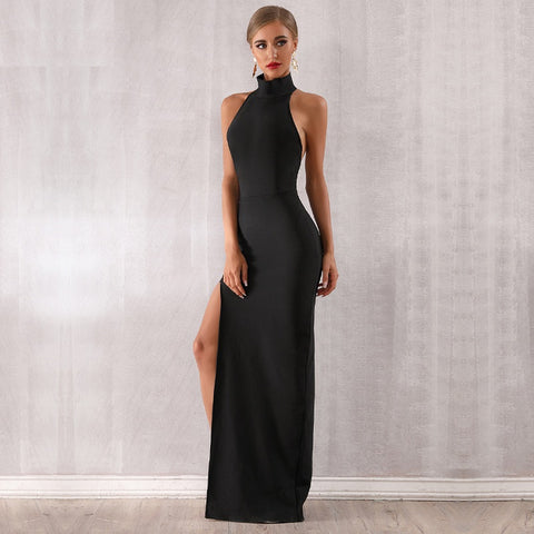 Vesuda - Stunning Sleeveless Halter Celebrity Runway Maxi Dress