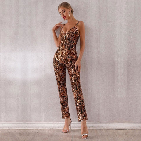 Image of Milano - Stunning Deep V Neck Spaghetti Strap Sleeveless Jumpsuit